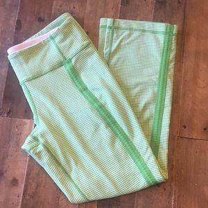 Lululemon Capris Bright Green + White Plaid Sz 8